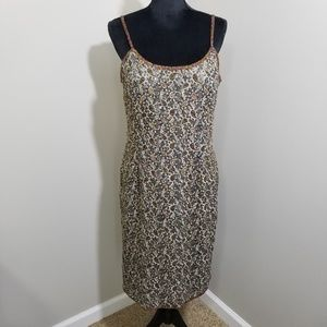Adrianna Papell Silk Fully Beaded Paisley SZ 16